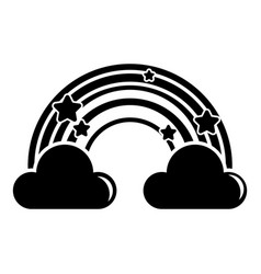 cloud rainbow icon simple black style vector image