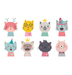 cute cats faces hand drawn characters vector image
