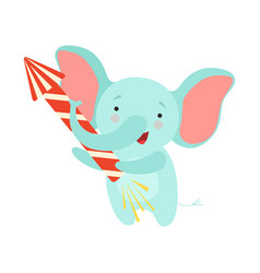 cute elephant with a party popper lovely cartoon vector image