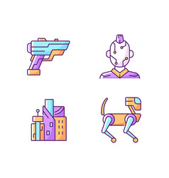 Cyberpunk items rgb color icons set vector