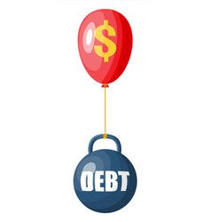 Debt ball chained to balloon with dollar sign vector
