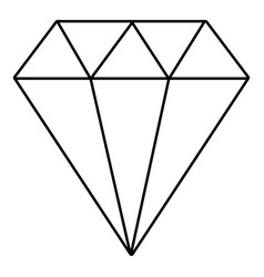 diamond icon outline style vector image