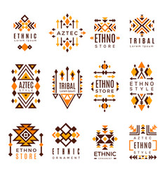 ethnic logo trendy tribal symbols geometric vector image