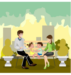 Family sitting in a park vector