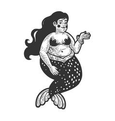 fat mermaid sketch vector image