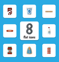 flat icon meal set of canned chicken fizzy drink vector image