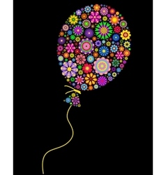 floral balloon on black background vector image