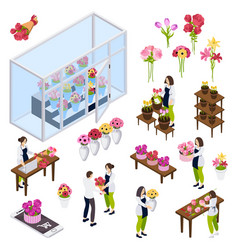 Flower shop isometric icons vector