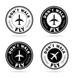 Flying icon set travel in black and white color vector
