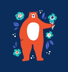 funny bear holding flower flat vector image