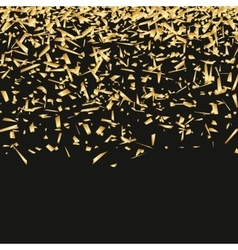 Golden sequins are scattered on a black background vector