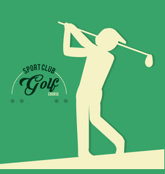golf player sport club course vector image