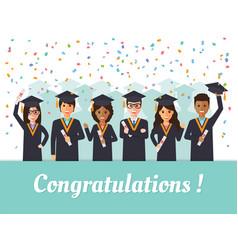 Graduation students celebration vector