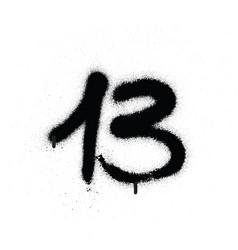 Graffiti sprayed number 13 thirteen in black vector