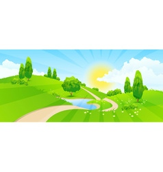 Green Landscape with Hills vector
