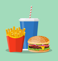 hamburger french fries and soda vector image