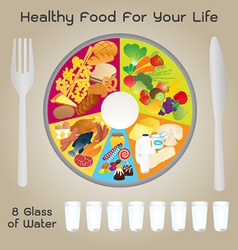 Healthy Food For Life Plate Design vector