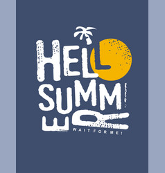 hello summer typography print design vector image
