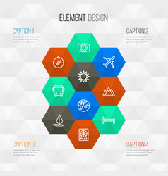 journey outline icons set collection of ship vector image