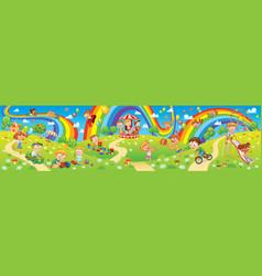 kids zone children playing in playground vector image