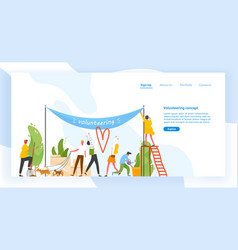 landing page template with group men and women vector image