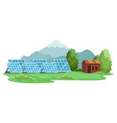 Landscape renewable energy solar panel vector