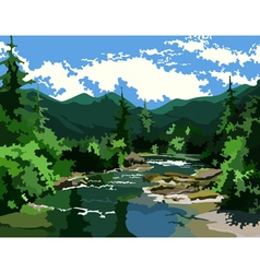 landscape river in the green forest at the foot vector image