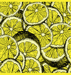 lemons hand drawn seamless color pattern vector image