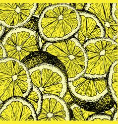 lemons hand drawn seamless color pattern vector image