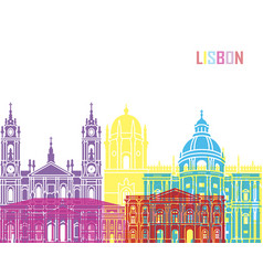 Lisbon v2 skyline pop vector