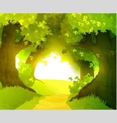 Magic sunset in forest vector