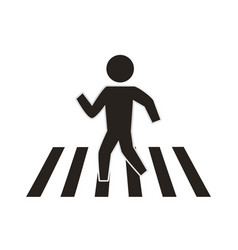 man silhouette walking crosswalk vector image