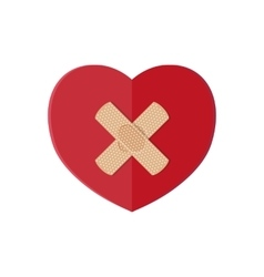 Medical plaster on red heart vector image