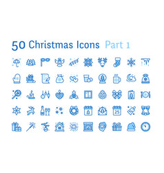 merry christmas new year flat line icons gifts vector image