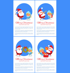 Merry christmas set of banners cheerful santa vector