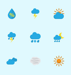 Meteorology flat icons set collection of sunny vector