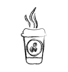 Monochrome sketch hand drawn with disposable cup vector