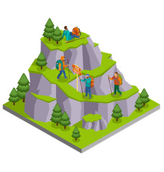 mountain tourist trails composition vector image
