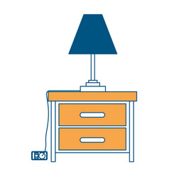 nightstand with lamp color section silhouette on vector image vector image