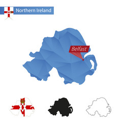 Northern ireland blue low poly map with capital vector