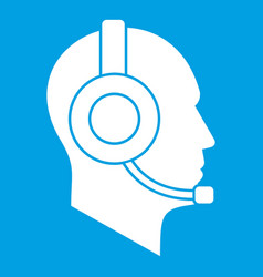 Operator in headset icon white vector