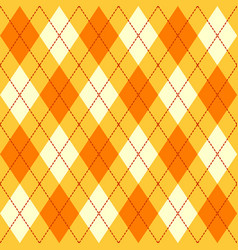 orange yellow and white seamless argyle pattern vector image