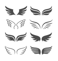 pair monochrome wings icon set vector image