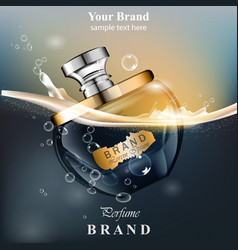 Perfume bottle water bubbles background realistic vector