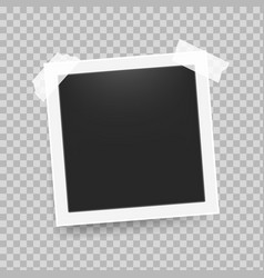 photo frame with tape realistic retro 3d empty vector image
