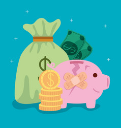 Piggy bank broken with cure bands and business vector