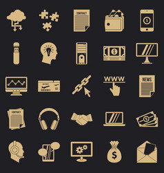 portfolio site icons set simple style vector image