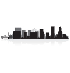 Portland USA city skyline silhouette vector image