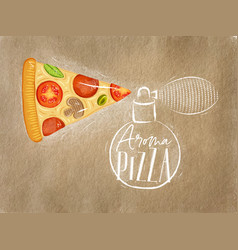 poster aroma pizza craft vector image