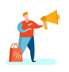 Pr marketer with megaphone vector